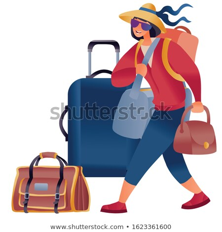 3D business woman traveling with her suitcase Stock photo © texelart