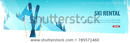 Winter Sport. Ski horizontal banner. Vector illustration. Stock photo © Leo_Edition