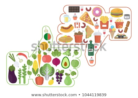 Niezdrowy zdrowa żywność drewna owoców tle tłuszczu Zdjęcia stock © M-studio