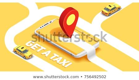 желтый такси такси изолированный изометрический 3D Сток-фото © studioworkstock
