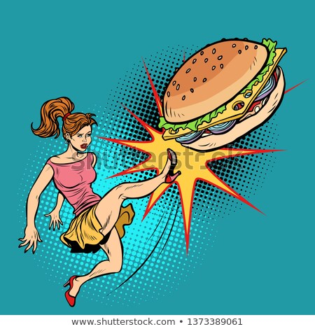 Woman kicks Burger, fastfood and healthy food Stock photo © studiostoks