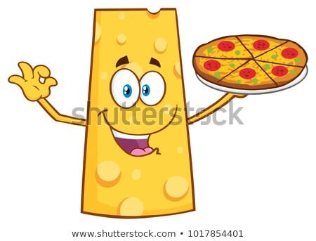 Queso mascota de la historieta carácter perfecto pizza Foto stock © hittoon