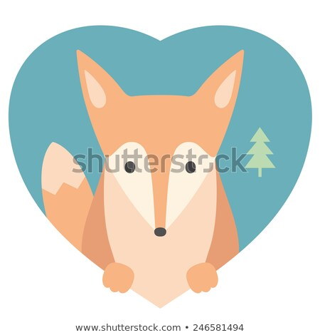 animal set portrait of a fox in love flat graphics over heart backdrop stock photo © foxysgraphic