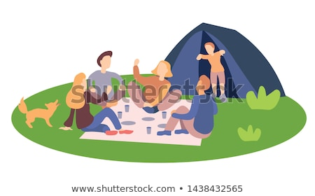Group sitting outside tents Stock photo © IS2