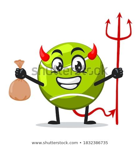 Diabeł tenis sportowe maskotka Zdjęcia stock © Krisdog