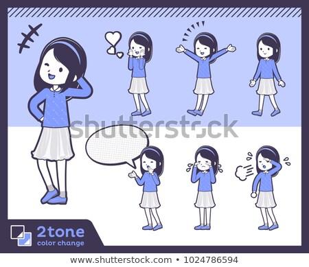 2tone type blue clothes headband girlset 03 stock photo © toyotoyo