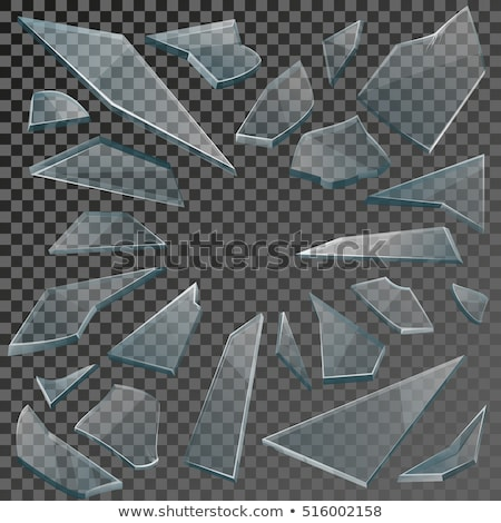 ガラス · ピース · セット · 現実的な · 透明な · 割れたガラス - ストックフォト © Macartur888