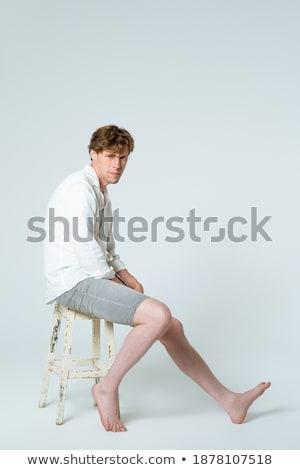 Fél portré mosolyog férfi kockás rövid Stock fotó © deandrobot