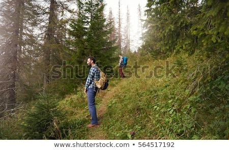young man peeing in the woods Stock photo © nito