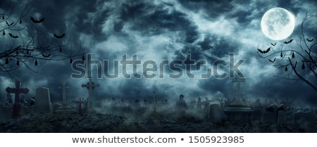 Scary background for Halloween cemetery with crosses and full moon in sky Stock photo © orensila
