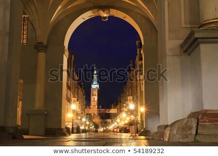 golden gate at night gdansk poland stock photo © neirfy