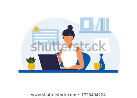 freelancer · werknemer · vector · vrouw · werken · home - stockfoto © rastudio