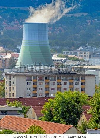 Apartment block in Dresden and a cooling tower Stock photo © manfredxy