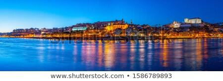 zonsondergang · Portugal · skyline · brug · voorgrond · water - stockfoto © joyr