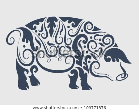 Contour drawing pig with flower for decoration Stock photo © Natalia_1947