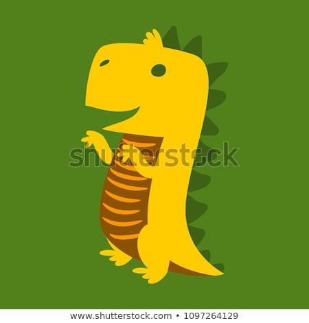 Ijesztő szörny zöld agresszív dinoszaurusz romboló Stock fotó © popaukropa