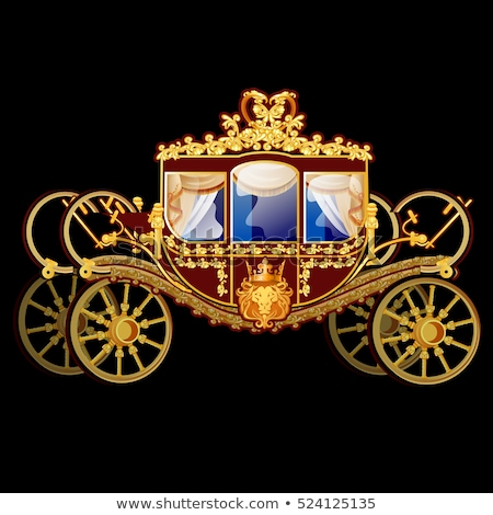 Vintage horse carriage with golden florid ornament isolated on a black background. Vector illustrati Stock photo © Lady-Luck