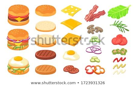 ハンバーガー サンドイッチ セット モノクロ ソフトドリンク ストックフォト © robuart