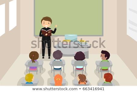 Crianças classe padre bíblia ilustração ensino Foto stock © lenm