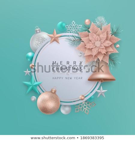 Natale rame fiocco di neve frame biglietto d'auguri allegro Foto d'archivio © cienpies
