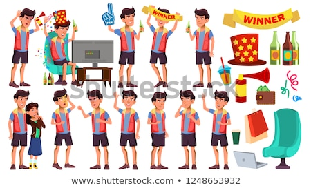 Asian Teen Girl Poses Set Vector. Face. Children. For Web, Brochure, Poster Design. Isolated Cartoon Stock photo © pikepicture