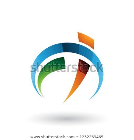 Blue and Orange Car Gauge Shaped Letter F and T Vector Illustrat Stock photo © cidepix