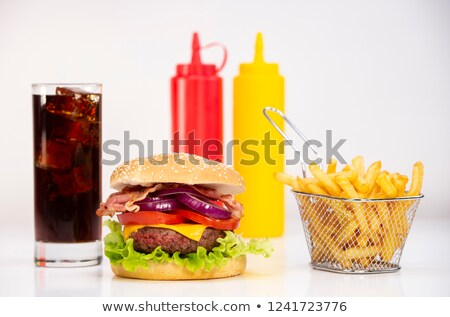 Stock photo: Burger with French fries cutlet with cheese and tomato and coca