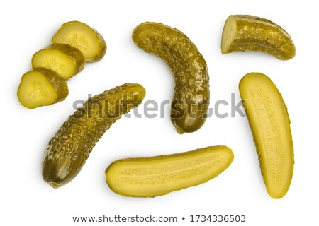 Cucumbers gherkins pile, top view, paths Stock photo © maxsol7