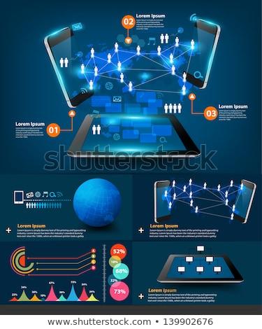 Draadloze connectiviteit app interface sjabloon wifi Stockfoto © RAStudio