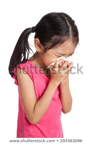 Lány tüsszentés szalvéta papír fehér gyermek Stock fotó © Lopolo