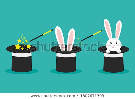 Rabbit ears appearing from magician hat, magic trick Stock photo © MarySan