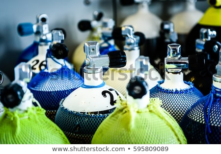 scuba compressed air tank on boat. Ready for diving Stock photo © galitskaya
