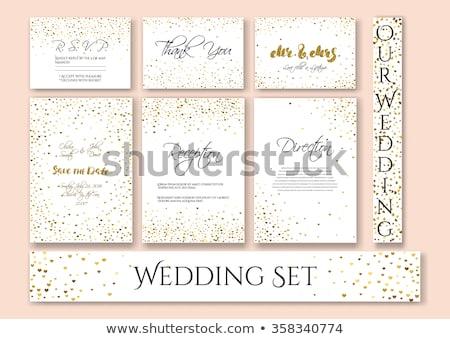 golden confetti wedding invitation template photo stock © ivaleksa