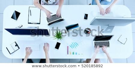 Zakenlieden internet netwerk laptop tablet startup Stockfoto © alphaspirit