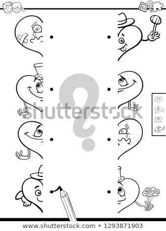 Gyufa szívek játék kifestőkönyv feketefehér rajz Stock fotó © izakowski