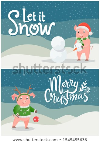 Stock fotó: Hó · vidám · karácsony · képeslapok · kismalac · készít