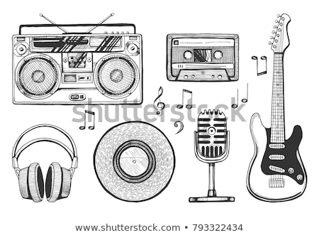 headphones and electric guitar sketches icons stock photo © robuart