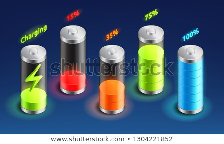 Set of battery charge isometric icon, accumulator indicator, from full charge to discharged, isometr Stock photo © MarySan