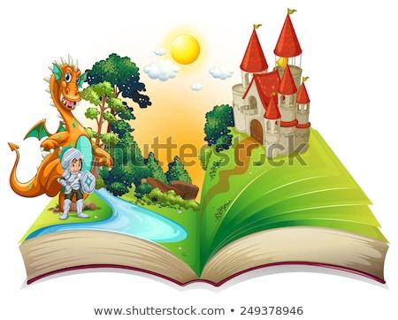 Verhalenboek ridder draak illustratie landschap achtergrond Stockfoto © colematt