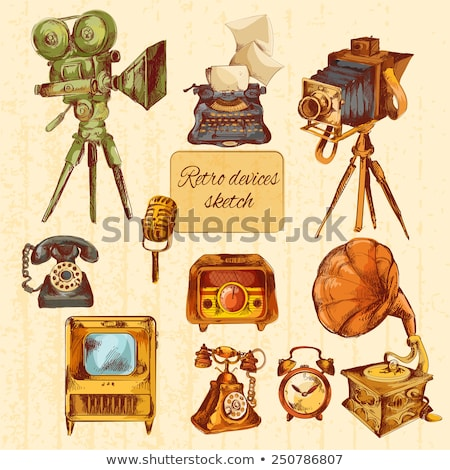 Color vintage electronic gadgets emblem Stock photo © netkov1