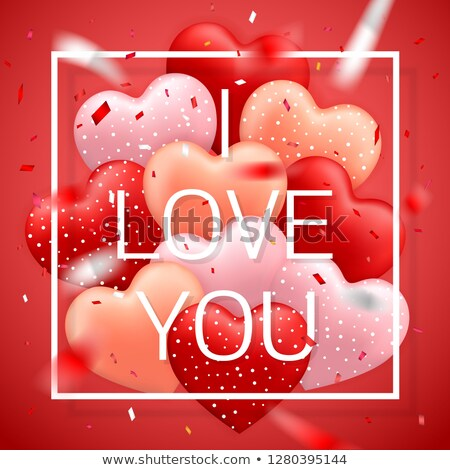 I Love You, Happy Valentines Day, red, pink and orange balloon in form of heart with ribbon vector i Stock photo © olehsvetiukha
