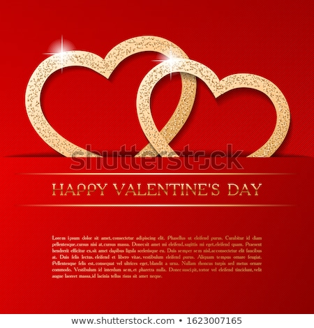Stock photo: Velentine card template with hearts on red background