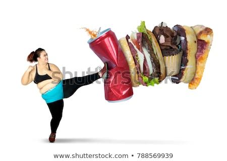 Geschikt te zwaar vrouw voedsel illustratie vrouwen Stockfoto © colematt