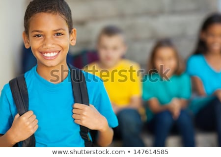 Stock fotó: Derűs · afroamerikai · általános · iskola · fiú · hátizsák · iskola