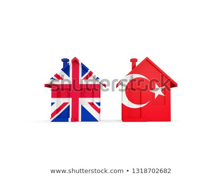 Two houses with flags of United Kingdom and turkey Stock photo © MikhailMishchenko