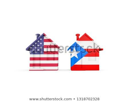 Twee huizen vlaggen Verenigde Staten Puerto Rico geïsoleerd Stockfoto © MikhailMishchenko