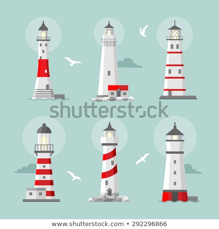 vector set of cartoon flat lighthouses stock photo © netkov1