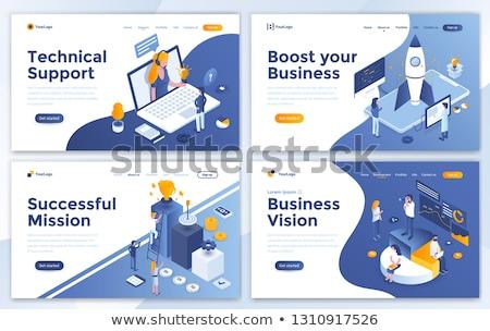 Sayfa teknik destek vektör işçiler dizüstü bilgisayarlar Stok fotoğraf © robuart