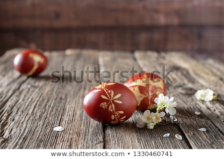 easter eggs dyed with onion peels with a pattern of fresh herbs stock photo © madeleine_steinbach