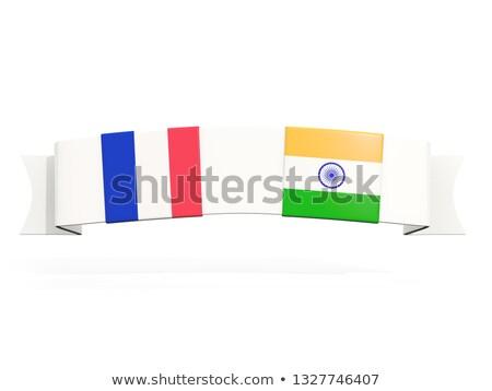 Afiş iki kare bayraklar Fransa Hindistan Stok fotoğraf © MikhailMishchenko